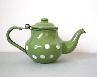 20% OFF Marked Price - Vintage Mini Enamel Teapot in Green with White Polka Dots