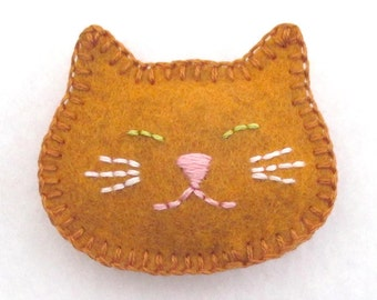 Felt Cat Pin / Brooch in Orange