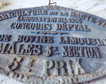 French Plaque Cattle award Blue 1956 Prize Bull Farm animals Farming Agriculture