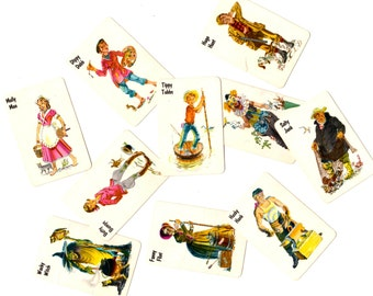 10 Vintage Mini Old Maid Game Cards - Mixed Media, Altered Art, Assemblage, Collage, Scrapbooking, Journal Supplies