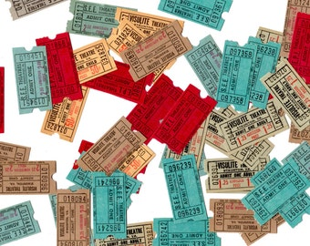 50 Vintage Theatre Tickets - Collage, Scrapbooking, Assemblage, Mixed Media, Art Journal Supplies