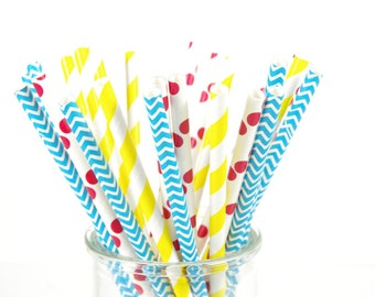 Curious George Paper Straws - Red Yellow and Blue Straws - Set of 25