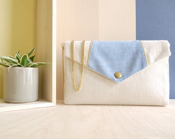 Sales 20% off - Bernadette Handbag with a blue flap with lurex and a golden chain