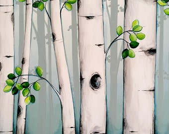 "Aspen Tree Painting, Blue, Green, and Gray - Large 20x30"" acrylic on canvas, Ready to ship wall art"