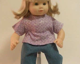 15 inch Doll Clothes, Fits American Girl Bitty Twin - Purple T-Shirt and Jeans, Bitty Girl