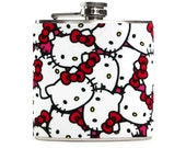 Hello Kitty Flask for Women, Kitty Cat Lovers, Birthday Gift Flask for Girlfriend, 6oz Stainless Steel Hip Flask