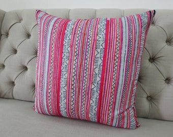 "Vintage 22""By22, Cushion covers Indigo batik Hmong Pillow case, Handwoven Hemp Fabric,"