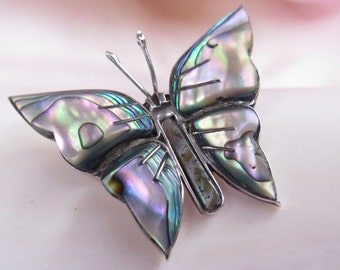 Vintage Butterfly Pin Abalone Sterling Silver Signed Cuernavaca Brooch Iridescent Mother Of Pearl Sea Shell Jewelry