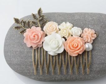 Peach Hair Comb, flower hair comb, headpiece, peach Wedding hair accessories, Bridal Hair Comb, peach Bridesmaid gift, Maid of Honor Gift