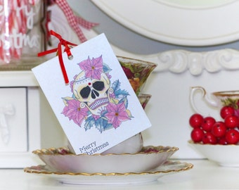Poinsettia and Holly Sugar Skull Tattoo set of 3 Christmas gift tags