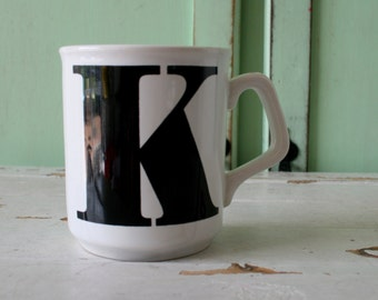 the letter k coffee mugletter mug k retro housewares name coffee tea kitsch black and white drink gift novelty kooky urban