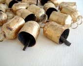 50 Golden Colored Hand Made Cow Bells with Rough Look for Wind Chimes, Altered Art -with Jute Rope - DIY - MV137