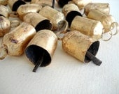 75 Golden Colored Hand Made Cow Bells with Rough Look for Wind Chimes, Altered Art -with Jute Rope - DIY - MV137
