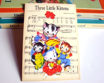 Small Ready to Frame Print - The Three Little Kittens Mother Goose Fairy Tale Nursery Rhyme Sheet Music Baby Toddler Kids Room Home Decor