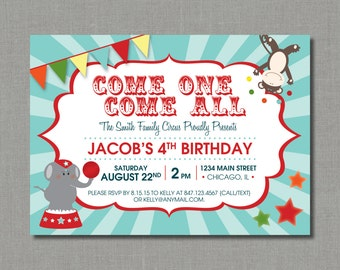 Circus / Carnival Birthday Party Invitation | Teal, Red