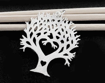 1 of 925 Sterling Silver Tree of Life Pendant 25x30 mm.Brush  Finished  :th2432