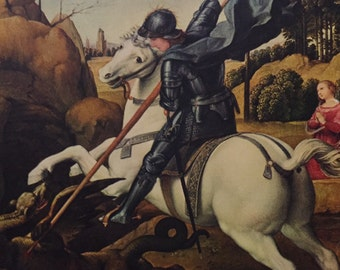 St. George and The Dragon by Raphael 1500s Color Book Print, 1951