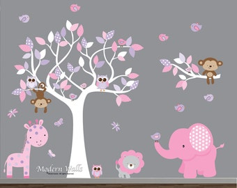 Jungle Wall Decals, Nursery Wall Decals, Safari Animals Stickers, Pink  Purple Girls Wall Part 39