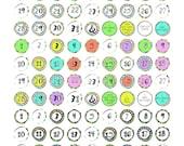 Planner Date Stickers; 3/4 inch round, weatherproof; Light