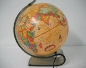 """Vintage 1980s World Discoverer Lighted Scan Globe A/S 12"""" with Acrylic Stand"""