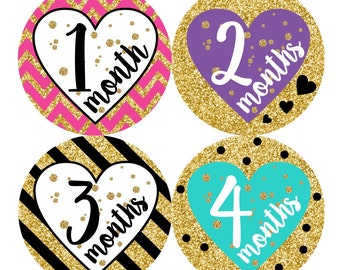 1st Year Baby Monthly Stickers, PLUS Just Born, Baby Girl Milestones, Bodysuit Stickers, Month Stickers, Glitter Gold Multicolor Hearts 156G