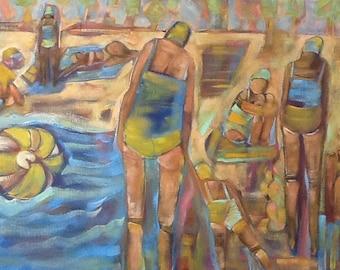 "It's Time Original beach painting 24""x18"""