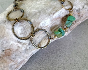 Hammered Bronze rings with Patina and African Turquoise Bracelet