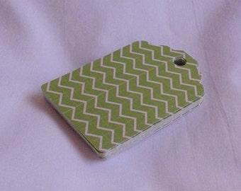 Green with White Chevron Strips Gift Tag Set