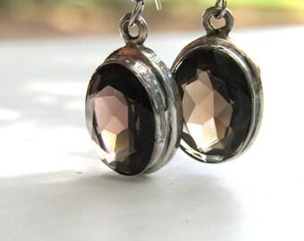 Sterling Silver • Dangle Earrings  • Smokey Quartz Earrings