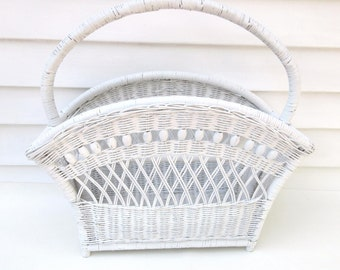 Vintage Wicker Basket, Magazine Rack, Large Basket with Handle, White Wicker Wedding Card Holder