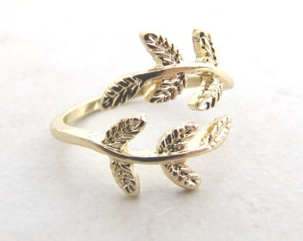 Leaf Ring, Gold Leaf, Adjustable Ring, Wrap Ring, Leaf Wrap Ring, Midi Ring, Boho, Bohemian