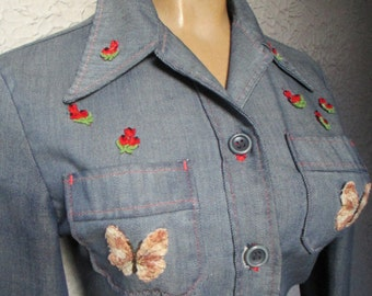 70's Vintage Hippie Denim Chambray Shirt Patches butterflies sm/med