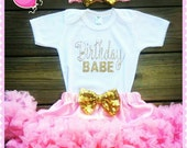 """Pink gold """" Birthday babe"""" Outfit, pink and gold birthday babe set, Embroidery Sparkly Glitter birthday babe with pink chiffon pettiskirt"""