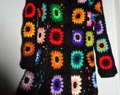 Crochet  granny square puff stitch flowers multicolour kaleidoscope 1960-s hippie bohemian coat jacket cardigan Size M Ready to ship!