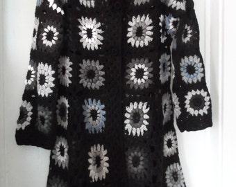 Crochet granny square  gipsy hippie boho black gray coat jacket cardigan, 50 shades of gray  OOAK Ready to ship!