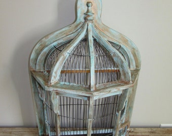 Vintage Wood and Iron Bird Cage Display Wall Cabinet Shelf