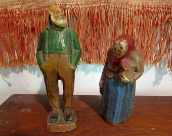 Vintage Peasant Couple Old Man and Woman Wood Carving