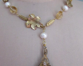 Cannetille Citrine Pearl and Crystal Necklace Bohemian Victorian Jewelry