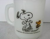 Snoopy and Woodstock Fire King Glass Vintage Mug At Times Life is Pure Joy