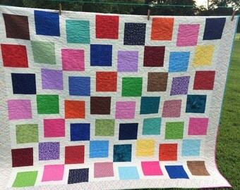 Uneven Block Quilt, Double Size, Modern, Handmade, Colorful, Made to Order