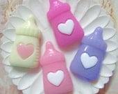 10 pcs of Resin Baby Bottle Cabochon Flat back 22x12mm Mix Colors