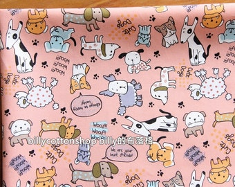 w878_45 - dogs fabircs - cotton fabrics  ( pink ) in Half Yard