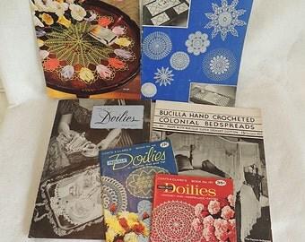 6 Vintage Crochet Pattern Books 1930s-1960s Bedspreads, Doilies, Tatting, Hairpin, Lace, Filet & Popcorn