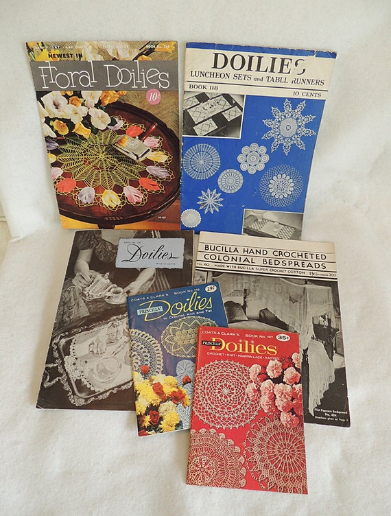 6 Vintage Crochet Pattern Books 1930s-1960s Bedspreads, Doilies, Tatting, Hairpin, Lace, Filet & Popcorn