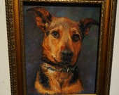 Custom Dog Portrait Painting reserved for Kate M 8x10 framed pet portrait