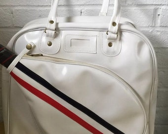 Vintage White Vinyl w Navy Blue & Red Stripe Racquetball Tote / Carry Bag