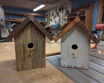 Reclaimed wood bird houses with skeleton key perches