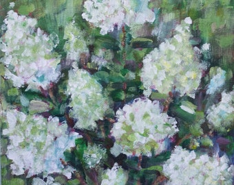 Garden Painting - white hydrangeas - original acrylic - landscape - summer garden - flower garden - wall art canvas - fine art home decor
