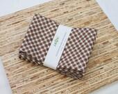 Large Cloth Napkins - Set of 4 - (N3711) - Brown Gingham Modern Reusable Fabric Napkins