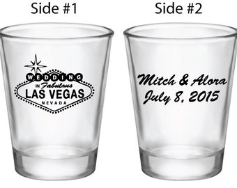 48 Personalized Las Vegas Wedding Favors | 1.75oz Shot Glasses | Customized Wedding Favors